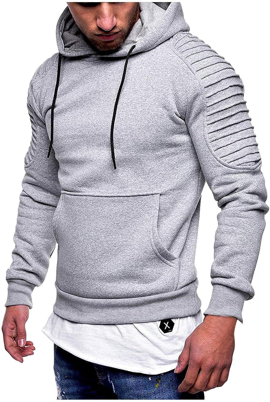 Men's Hoodies Pullover, Men's Slim Fit Pleated Raglan Sleeve Hoodies Long Solid Sleeve Top Pullover Sweater Soft Hoody