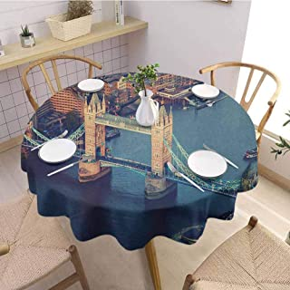 Luoiaax London Waterproof Anti Wrinkle no Pollution London Aerial View with Tower Bridge at Sunset Internatinal Big Old UK British River Round Tablecloth D63 Inch Round Multicolor