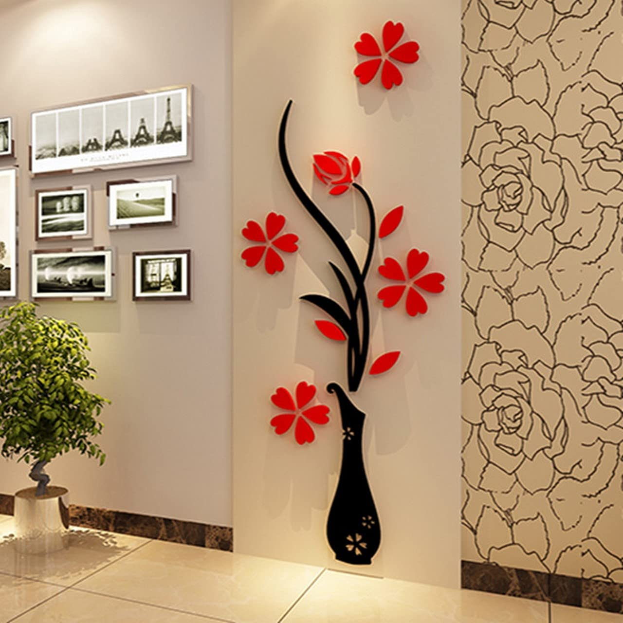 3D Max 76% OFF Acrylic Mirror Wall Decor Safety and trust Flower Removable Stickers Vase 79