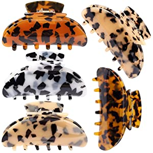 5 Pack Hair Claw Clips Fashion Barrettes for Women and Girls Leopard Print Hair Clips Colorful Tortoise Celluloid Hair Jaw Clips