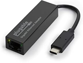 Plugable USB C Ethernet Adapter, Fast and Reliable Gigabit Connection, Compatible with Windows 10, 8.1, 7, Linux, Chrome OS, Dell XPS, HP, Lenovo