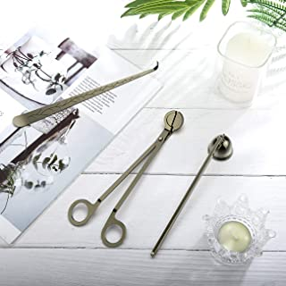 Lewondr Candle Snuffer Accessory Set, Stainless Steel Tool Set Includes Candle Wick Trimmer Candle Cutter, Candle Wick Dip...