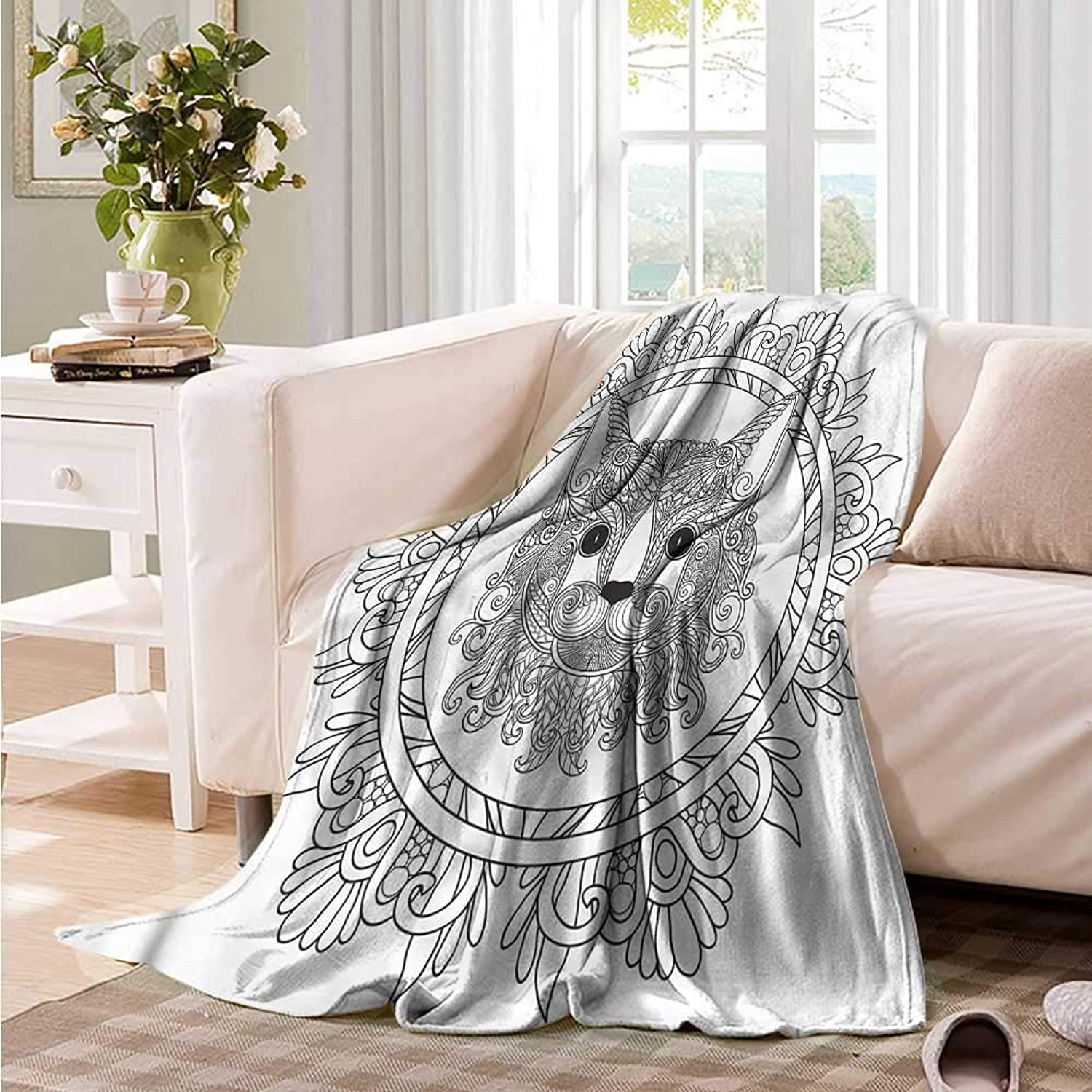 Oncegod Beds Blanket Mandala Cat Figure Cosmos Ornament Camping Throw,Office wrap 60  W x 51  L