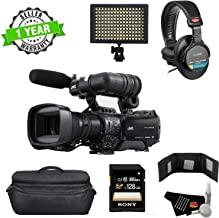 JVC GY-HM850U ProHD Compact Shoulder Mount Camera with Fujinon 20x Lens - Bundle with Sony 256GB Memory Card, Sony MDR-7506 Headphones + LED Light + More (International Model)