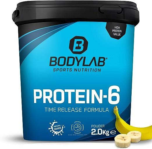 Protein-6 de Bodylab24 2 kg | Polvo de proteína multicomponente con 6 fuentes de proteína | Plátano