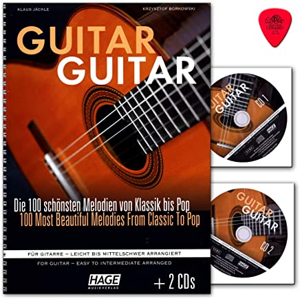 Guitarra (con 2 CD, púa Dunlop) 100 melodías más bonitas de clásica hasta