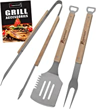 ROMANTICIST 3pc Heavy Duty BBQ Grilling Tools Set - Extra Thick Stainless Steel Spatula Fork Tongs for Grill Griddle Barbecue Grilling Smoking - The Very Best Grill Gift for Everyone on Christmas