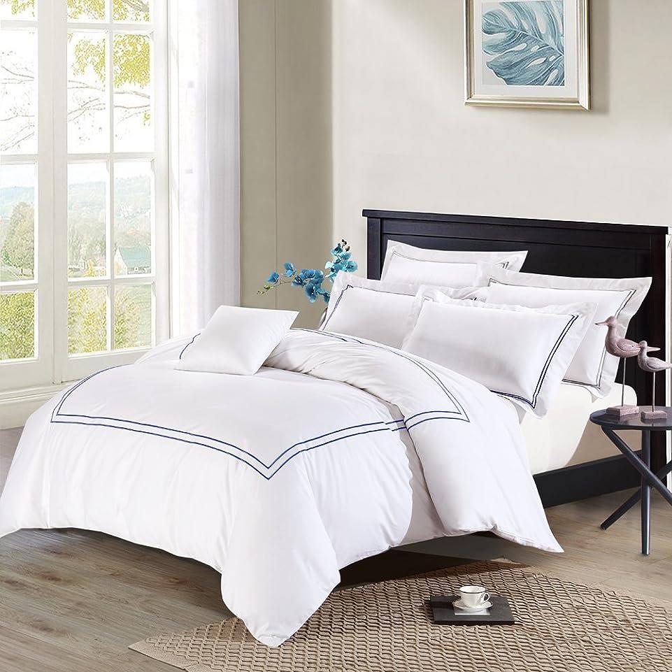 シンボル不実冷酷なDeep Sleepホーム3個入り羽毛布団カバーセット、40年代コットンサテン地、ネイビーブルー刺繍線、250スレッドカウントパーケール、ホワイト背景、ロイヤルブルー色 キング ブルー