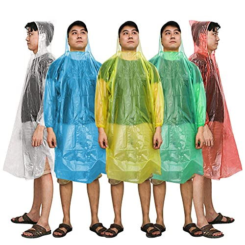 Coquimbo Multi-Functional Rain Poncho Waterproof Portable Unisex Adult Translucent Hooded Raincoat Poncho Perfect For Festivals Camping /& Theme Parks