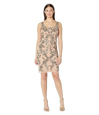 Adrianna Papell Beaded Mesh Short Cocktail Dress (Rose Gold) Women