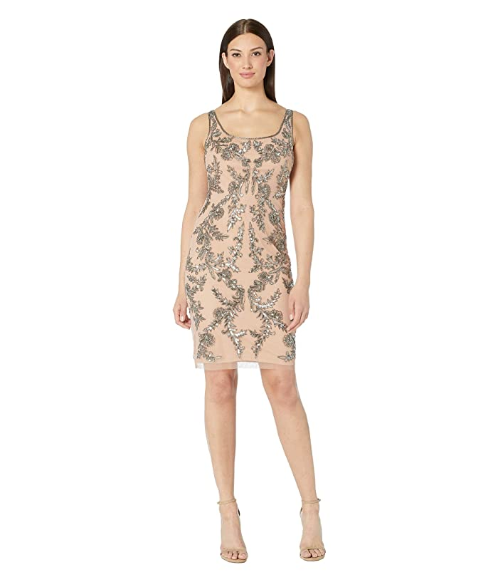 Vintage Evening Dresses and Formal Evening Gowns Adrianna Papell Beaded Mesh Short Cocktail Dress Rose Gold Womens Dress $119.40 AT vintagedancer.com