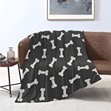 Luoiaax Dog Bone Bedding Flannel Blanket Simplistic Doodle Dog Food Bone Background Canine Animal Care Theme Super Soft and Comfortable Luxury Bed Blanket W54 x L72 Inch Ivory and Charcoal Grey
