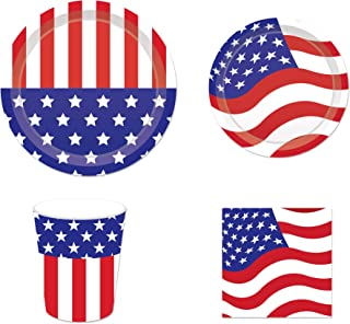 CC HOME Patriotic Party Supplies Pack ,Labor Day Set- Serves 16 - Includes Paper Plates, Napkins, and Cups,American Flag Red White and Blue Party Decorations for Labor Day, Patriotic Day and Veterans Day,Patriotic Labor Day Decor Favor