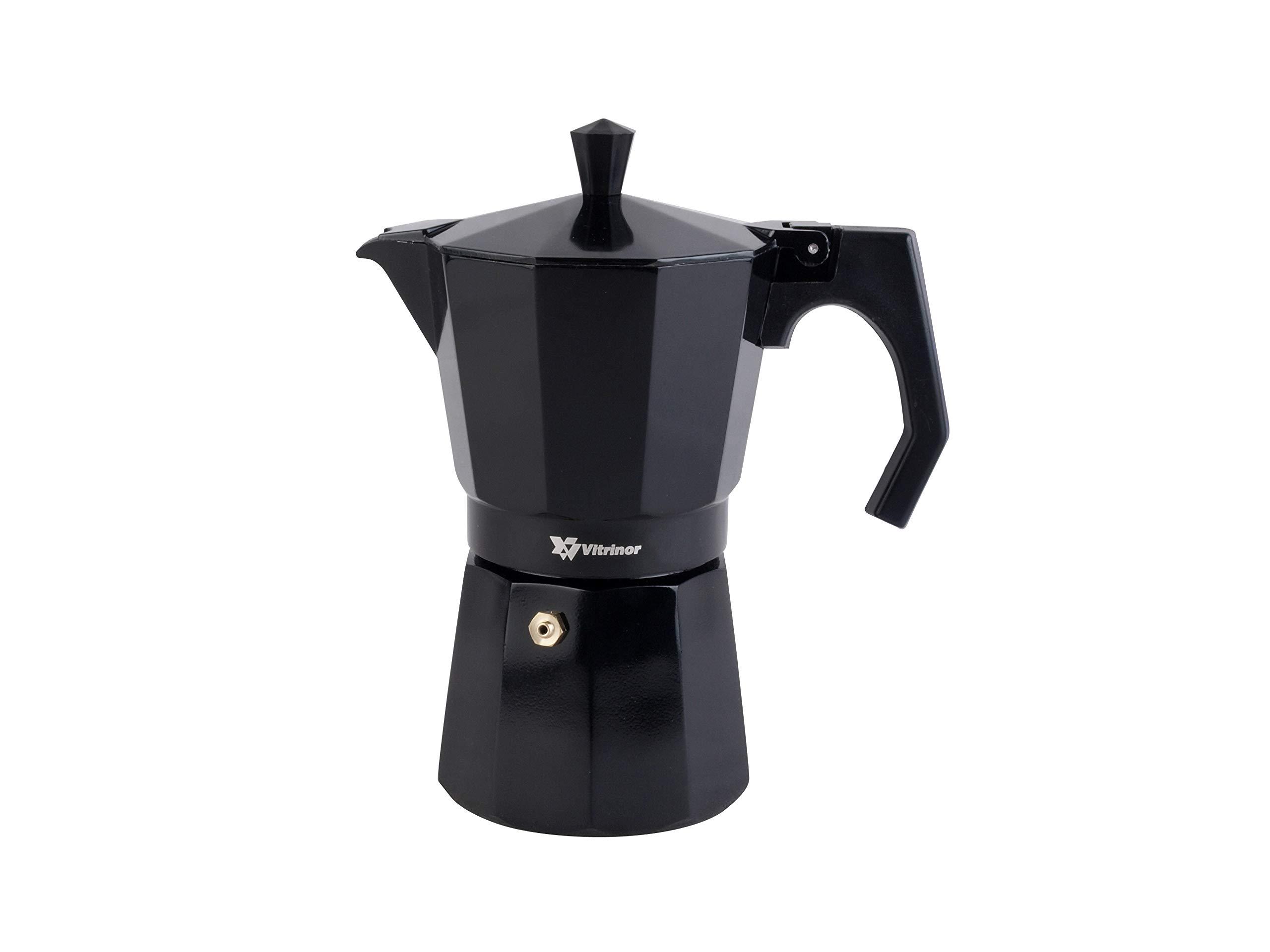 Vitrinor Black - Cafetera Italiana de aluminio express, 9 tazas café, inducción, apta para todas las cocinas, color negro, junta de cierre de silicona, válvula de seguridad: Amazon.es: Hogar