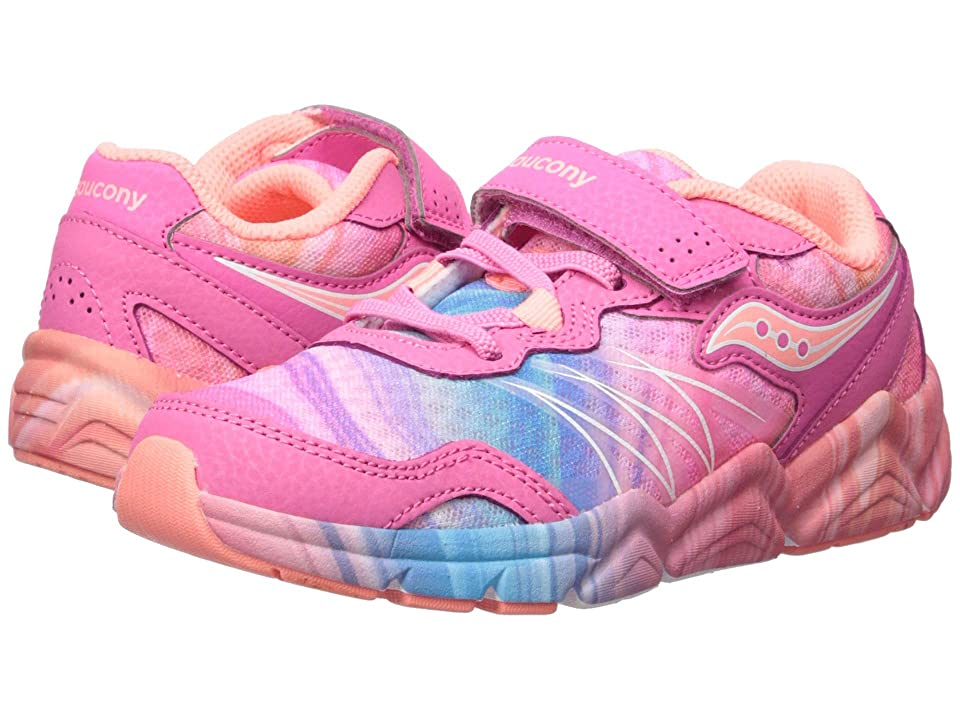 Saucony Kids Flash A/C (Little Kid) (Pink/Multi) Girls Shoes