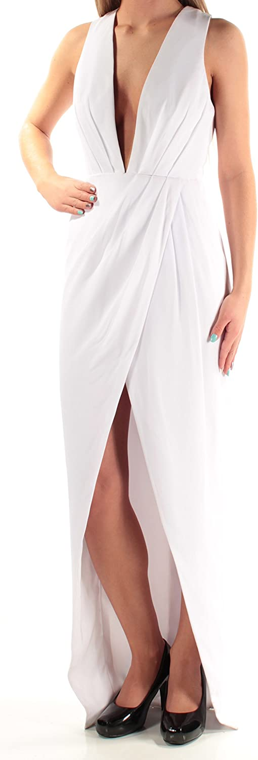 FAME AND PARTNERS Womens White Low Back Slitted Sleeveless V Neck Full Length Sheath Formal Dress US Size  2