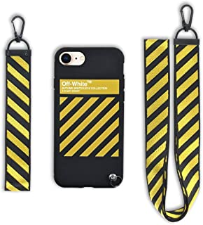 Keklle Design x Street Fashion - Slim Flexible TPU Durable Protective Case with Designer Lanyard for iPhone case (iPhone 7 & 8 Yellow)