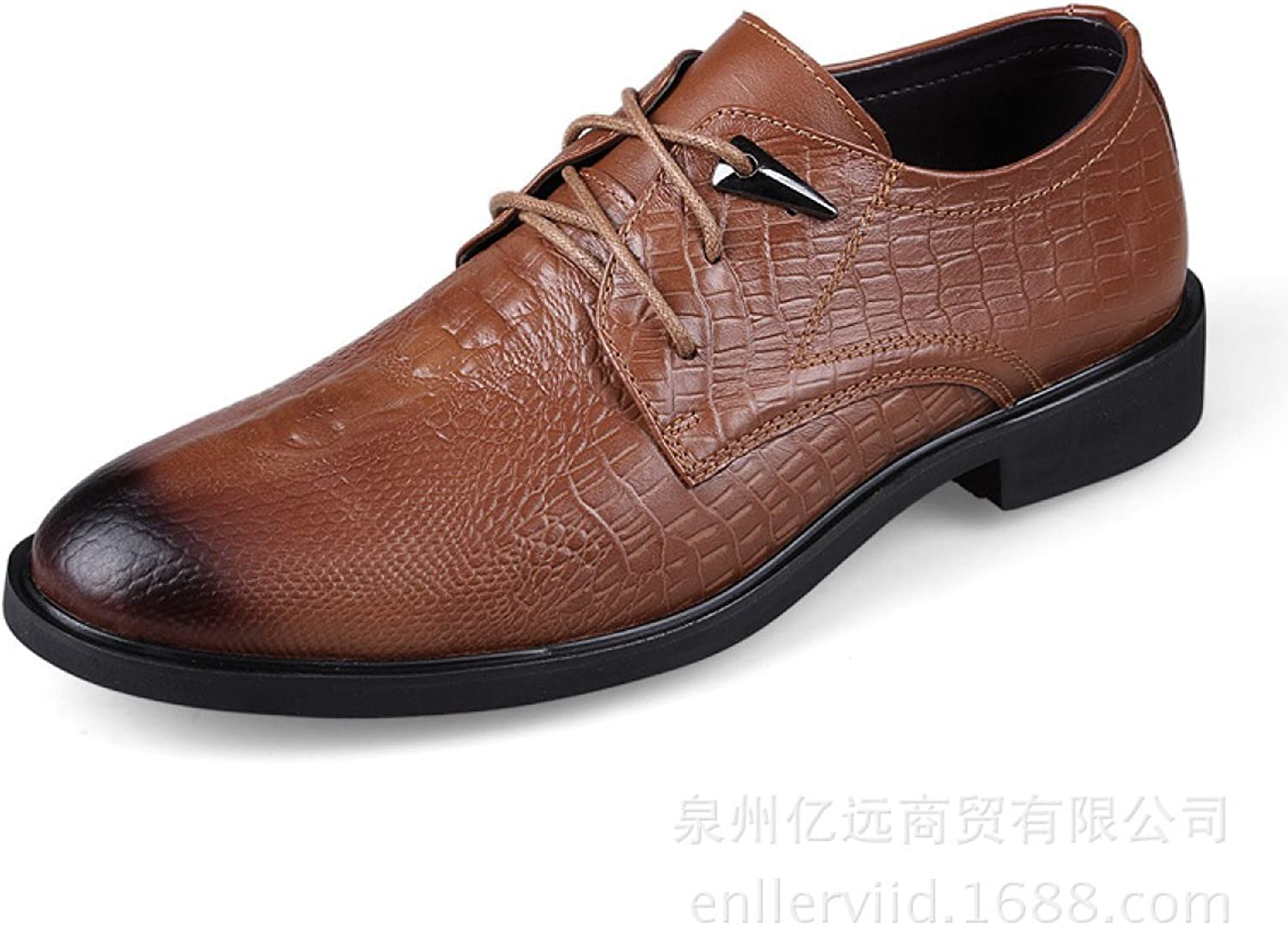 Leather Men's Casual shoes Crocodile Pattern Dress Low To Help Men's shoes Lace shoes