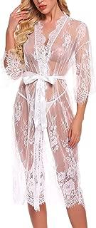 RSLOVE Lingerie for Women Sexy Long Lace Kimono Robe Eyelash Babydoll Sheer Cover up Dress