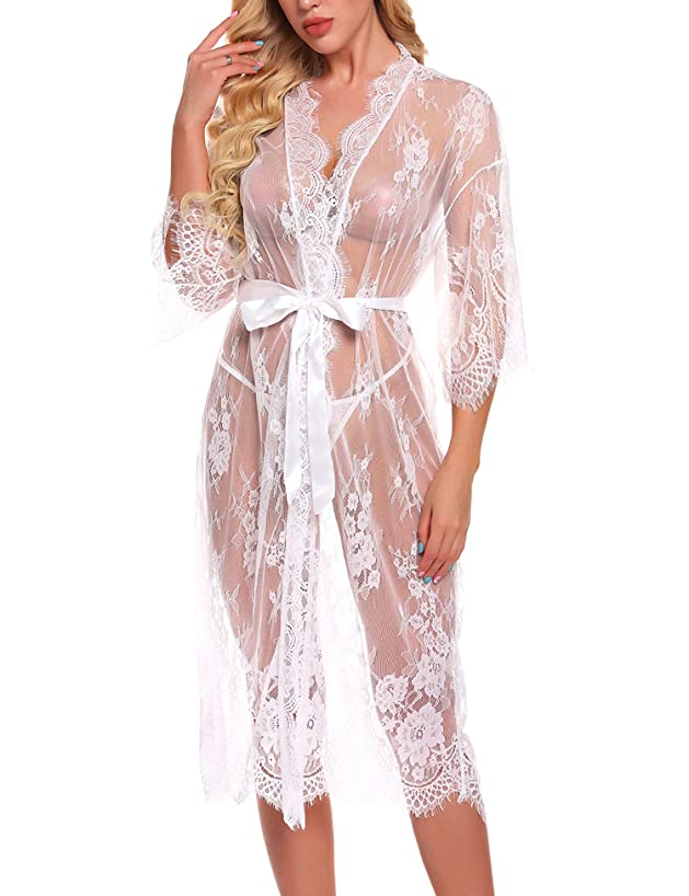 RSLOVE Lingerie for Women Sexy Long Lace Kimono Robe Eyelash Babydoll Sheer Cover Up Dress with Satin Belt empbfuotdf