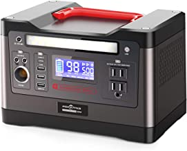 ROCKPALS 500W Portable Power Station, 540Wh Lithium Battery Solar Generator Backup Power Supply with 110V AC Outlet, 2 DC Port, Car Port, Type C, QC 3.0, Emergency Light for Camping Home CPAP