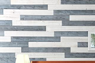 WoodyWalls Peel and Stick Wood Wall Panels. (19.5 sq. ft.) (Natural Gray, White)