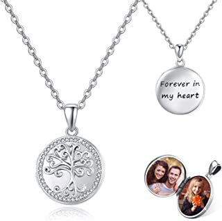 """Tree of Life Locket Necklace That 2 Hold Photos, 925 Sterling Silver with Cubic Zirconia """"Forever in My Heart"""" Locket Pend..."""