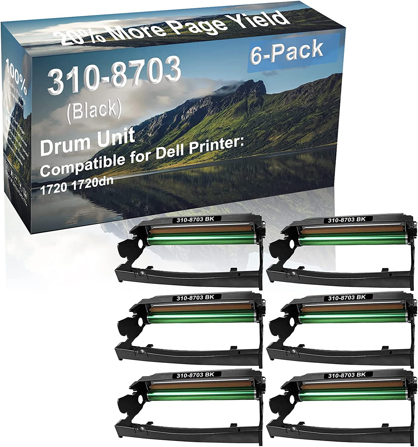 6-Pack Compatible 310-8703 Drum Kit use for Dell 1720 1720dn Printer (Black)