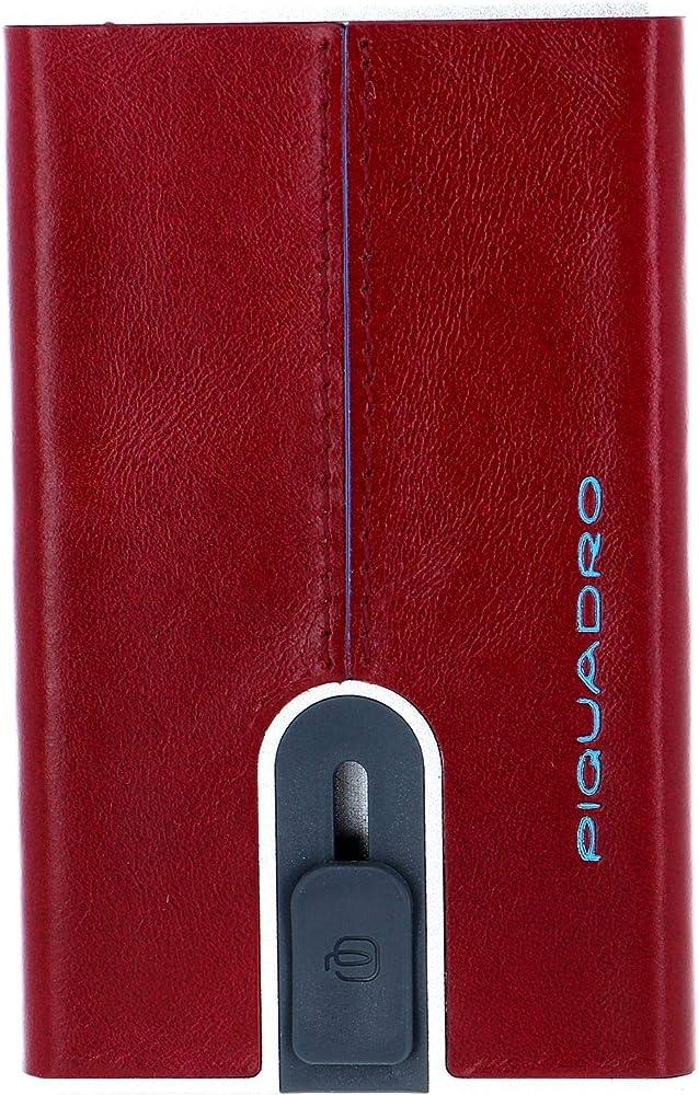 Piquadro portafogli porta carte di credito con protezione rfid in alluminio e pelle rosso
