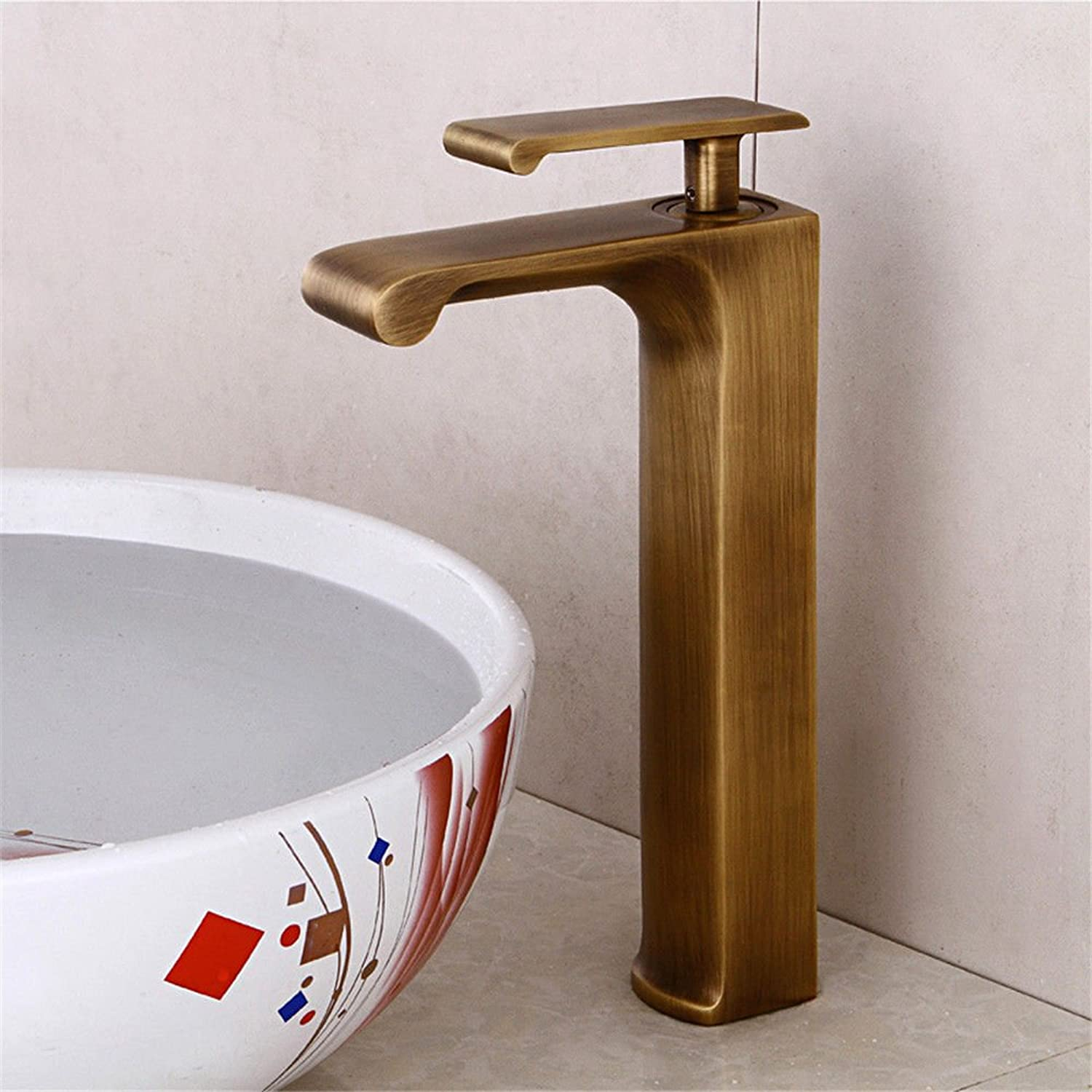 AQMMi Bathroom Sink Faucet Basin Mixer Tap Antique Retro Brass Hot and Cold Water Waterfall Single Lever Basin Sink Tap Bathroom Bar Faucet