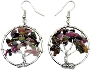 AD Beads Tree of Life Hook Earrings Chakra Gemstone 30mm Silver Wire Wrap (Multicolor Tourmaline)