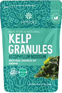 Kelp Granules 1 Lb, Raw, Sun-Dried, Natural Iodine Supplement for Thyroid, Dry Seaweed, non-GMO, Gluten-Free, Kosher, Canada
