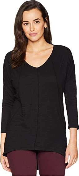Slub Jersey Drop Shloulder Seamed V-Neck Tunic Tee