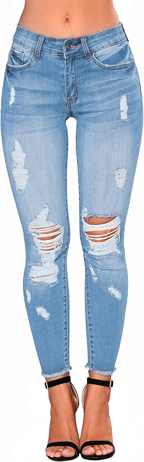 YPKAM High Waist Skinny Stretch Ripped Jeans for Women, Destroyed Denim Cropped Pants.