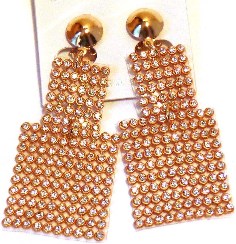 Clip-on Earrings Crystal Gold Tone Mesh Dangle Earrigs