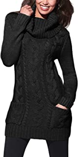 Womens Turtleneck Long Sleeve Elasticity Chunky Cable Knit Pullover Sweaters Jumper with Pockets