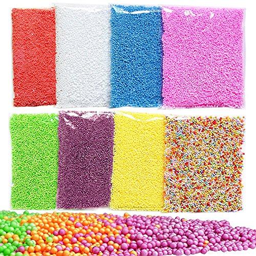 Swallowzy 8Pack Slime Beads, bolas de espuma de poliestireno Micro Bolas de espuma pequeñas para la fabricación de baba Art Craft DIY, 0.08-0.14 pulgadas, 50000 piezas