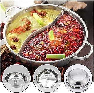 YXIAOn El cocinar de Acero Inoxidable Olla de una Sola Capa Que Cocina la 28cm Doble oído Pato mandarín Fondue Hot Pot crisol de cocinar