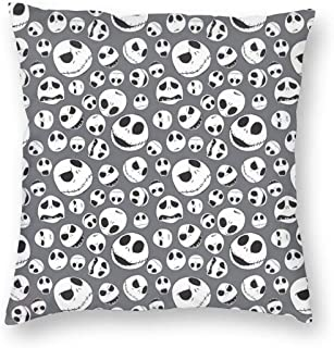BUSAMEDO Polyester Fiber Cushion Case Nightmare Before Christmas Decorative Square Case Durable Throw Pillow Cover Shell for Couch Sofa Bed Living Room 18x18 Inch