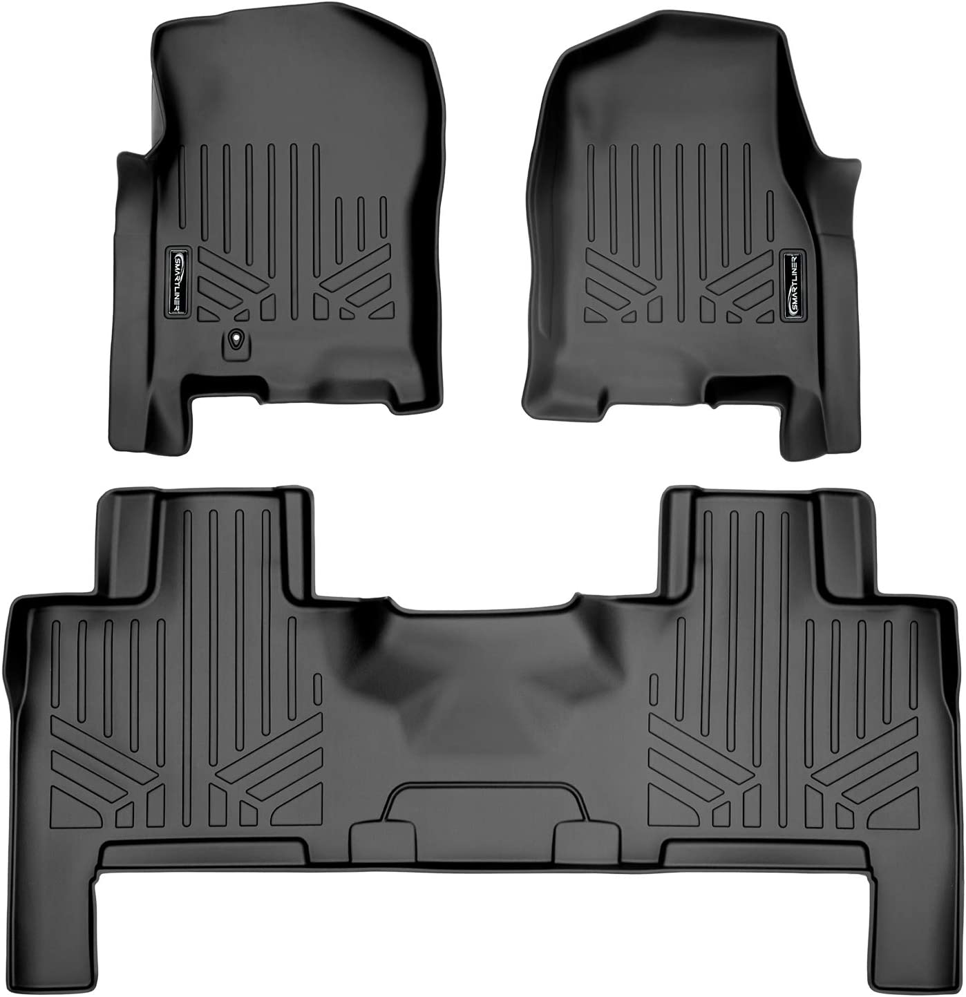 MAXLINER Floor Mats 2 Row Liner Set Black for 2007-2010 Ford Expedition/Lincoln Navigator (All Models Including EL and L)