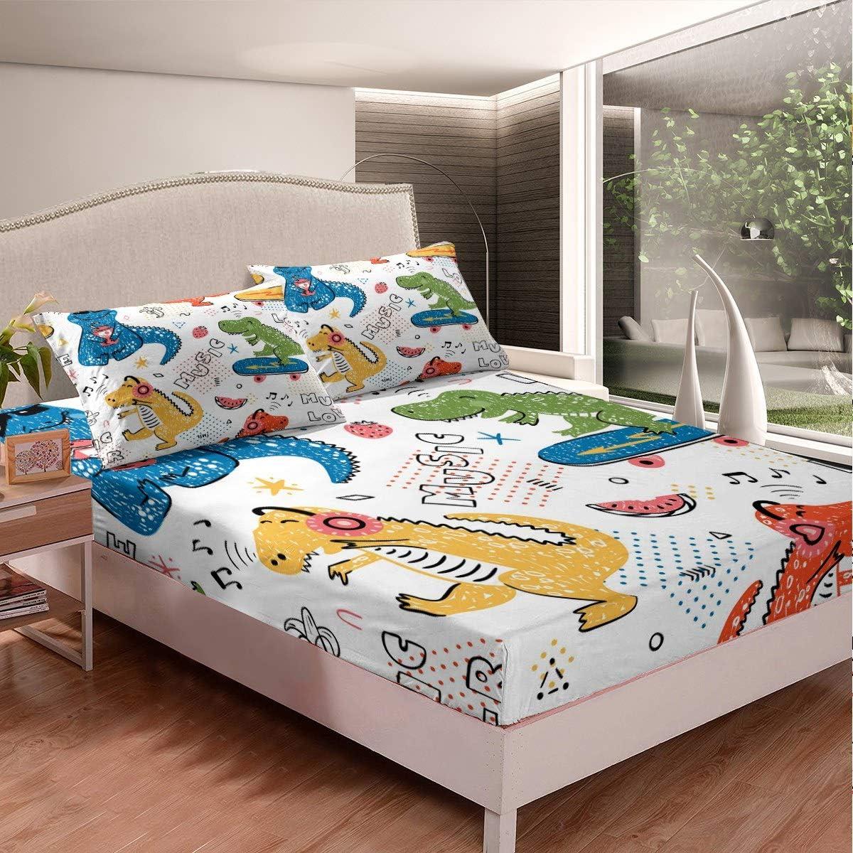 Feelyou Dinosaur Fitted Sheet for 販売期間 限定のお得なタイムセール 定価の67%OFF Boys Kids Cartoon Girls Animal