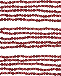 Kurt Adler Burgundy Finish Wood Berry Round Bead Garland, 9 Feet Length, Set of 3
