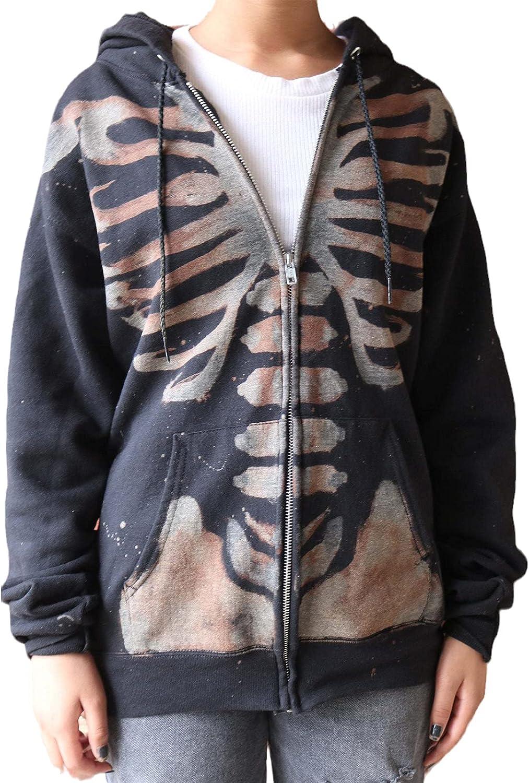 Women Oversized Zip Up Hoodie Jacket Vintage Halloween Skeleton Print Sweatshirt Coat Y2K Streetwear