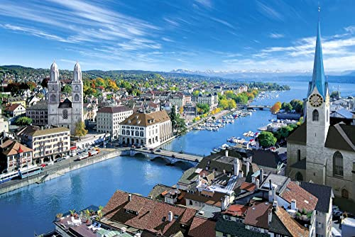 Limmat river and master 1000 piece puzzle of Zurich city Aim - Switzerland - 10-743  (japan import)