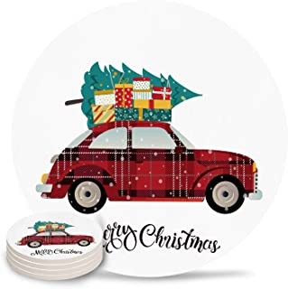 6 Piece Drink Coaster Absorbing Stone Coaster Cork Base Merry Christmas Vintage Red Car with Gifts Christmas Tree New Year Absorbent Stone Coaster Set Housewarming Gift for Home Decor