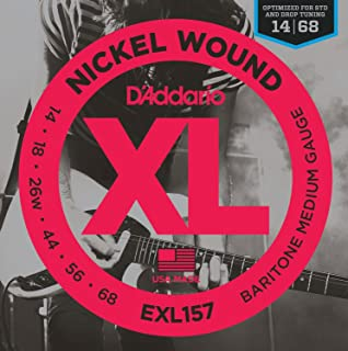 D'Addario XL Nickel Wound Electric Guitar Strings, Barritone Medium Gauge – Round Wound with Nickel-Plated Steel for Long Lasting Distinctive Bright Tone and Excellent Intonation – 14-68, 1 Set
