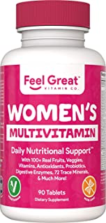 Feel Great Vitamin Co. Women's Vegetarian Multivitamin | Chromium, Magnesium, Selenium, Greens, Calcium for Immunity & Nat...