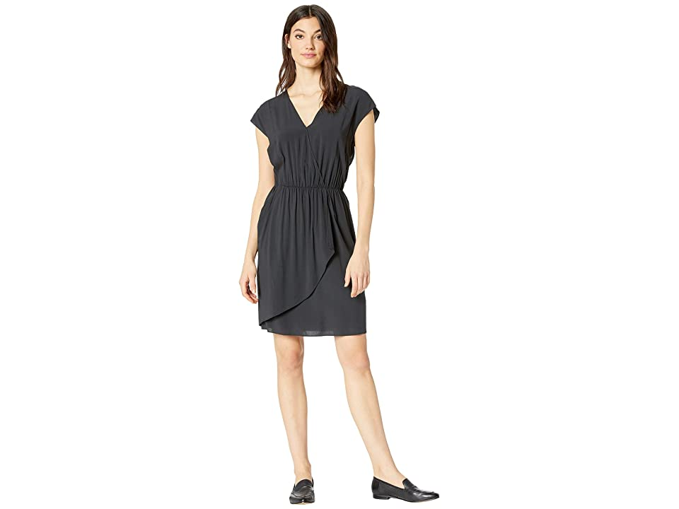 NeverEven Pleated Cross Front Dress (Caviar) Women