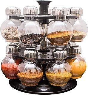 Designer Multipurpose Revolving Plastic Spice Rack 16 Piece Condiment Set, 300ml, Siver Finish, Clea Plastic Spice Rack, 2...