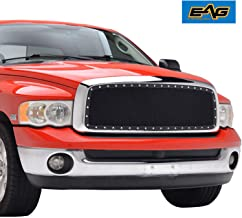 EAG Rivet Stainless Steel Wire Mesh Front Grill Fit for 02-05 Dodge Ram 1500/03-06 Dodge Ram 2500/03-06 Dodge Ram 3500